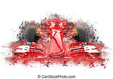 couleur, voiture, -, une, eclabousse, grungy, formule, rouges