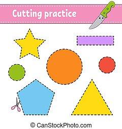 couleur, worksheet., children., dessin animé, jeu, isolé, ...