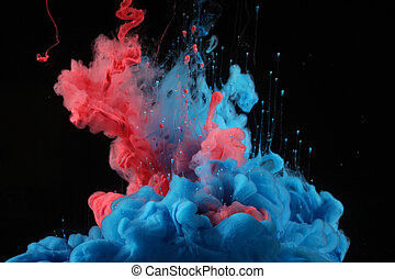 couleurs, acrylique, encre, blot., water.