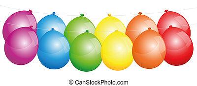couleurs arc-en-ciel, ballons, ligne