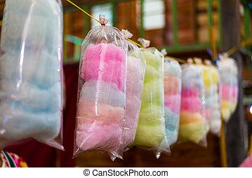 couleurs, arc-en-ciel, bonbon, coton