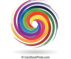 couleurs arc-en-ciel, logo, vagues