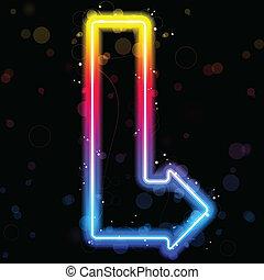 couleurs arc-en-ciel, néon, sparkles., flèche