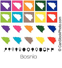 couleurs, carte, indicateurs, multiple, bosnie