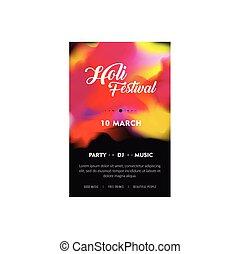 couleurs, dj, aviateur, illustration, créatif, brochure, festival, indien, conception, holi, bannière partie, ou, celebration., heureux