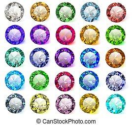 couleurs, ensemble, différent, pierres, précieux, ...