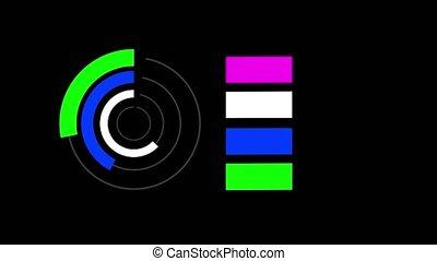 couleurs, fond, noir, différent, diagramme, rond