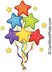 couleurs, forme étoile, ballons