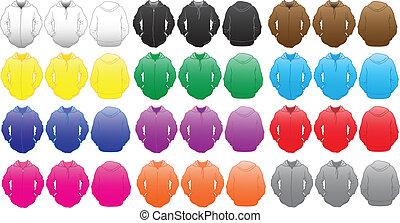 couleurs, gabarit, sweatshirt, beaucoup