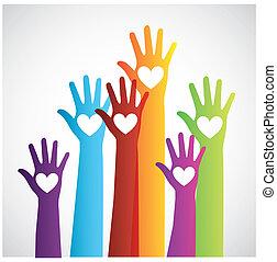couleurs, haut, main