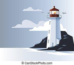 couleurs, illustration espace, océan, côte, phare, rocher, ouvert, bleu