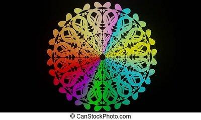 couleurs, mandala, guérison, cercle, conception, vivant, arc-en-ciel, âme, animé, harmonie, vif, mandala, modèle