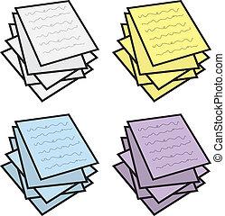 couleurs, notes, empilé