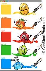 couleurs, primaire, dessin animé, fruits