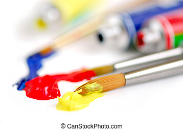 couleurs, primaire, pinceau