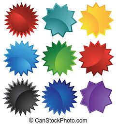 couleurs, starburst, ensemble