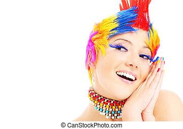 couleurs, visage heureux