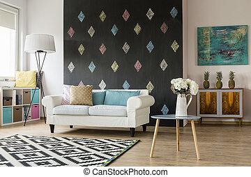 couleurs, vivant, salle moderne, pastel