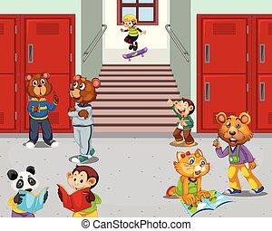 couloir, école, animal, étudiant