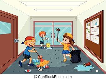 couloir, école, nettoyage, étudiant