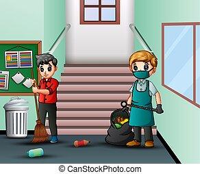 couloir, école, nettoyage, concierge, dessin animé, homme