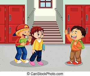 couloir, écolier