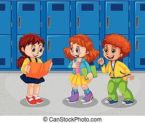 couloir, écoliers