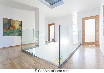 couloir, clair, moderne