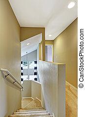 couloir, clair, moquette, plancher