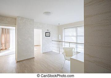 couloir, clair, spacieux