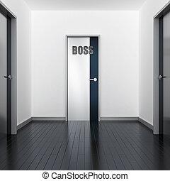 couloir, de, moderne, bureau, et, porte, de, patron