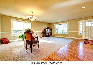 couloir, entrée, salle, vivant, plan, ouvert, design.