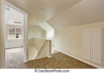 couloir, escalier, haut, vide