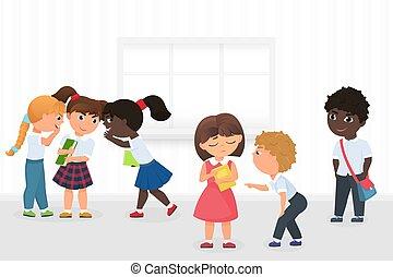 couloir, gosses école, groupe, multiethnic, triste, coupure, vecteur, intimider, bavardage, pendant, girl, dessin animé, illustration.