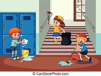 couloir, gosses école, nettoyage, volontaire