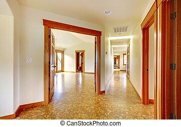 couloir, house., nouveau, grand, luxe, interior., maison, vide