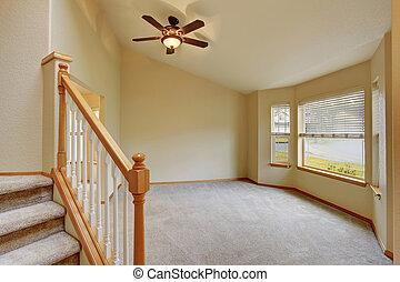 couloir, intérieur, vue., escalier, vide, moquette