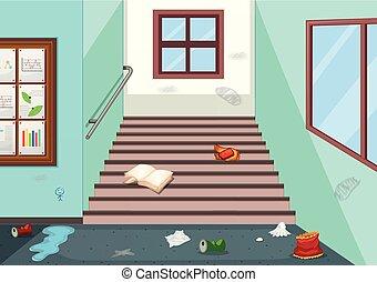 couloir, literie, école