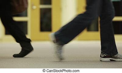 couloir, marche, gosses
