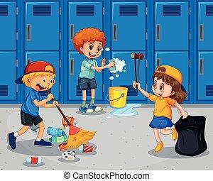 couloir, nettoyage, étudiant