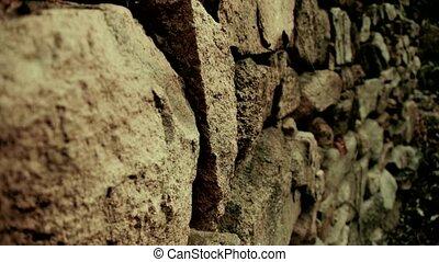 couloir, pierre, enroulement, mur