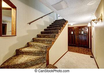 couloir, porte, bois, enterance, intérieur, escalier, vue