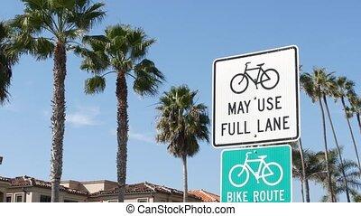 couloir, touriste, sécurité, symbole, sain, californie, bikeway, vélo, récréation, usa., singpost., cycleway, palm., vert, vélo, resort., signe, cyclisme, style de vie, route, enseigne, oceanside, pacifique, parcours