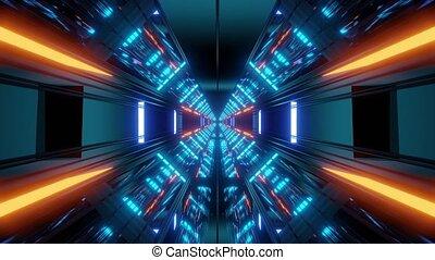 couloir, tunnel, papier peint, science-fiction, vjloop, illustration, fond, futuriste, 3d