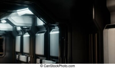 couloir, vaisseau spatial, tunnel, ou, sci-fi
