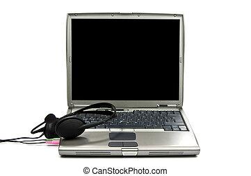 coummunication, ordinateur portable, arrière-plan noir, blanc, écouteurs