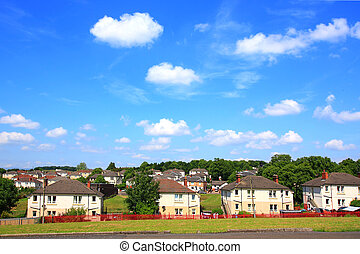Council Houses in Scotland on sunny day