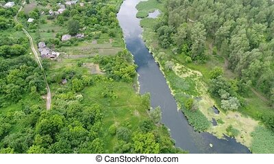 counrtry river from above - country river from above, aerial...