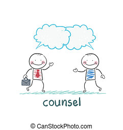 counsel speaks with a client