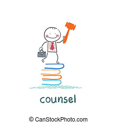 counsel stands on a pile of books